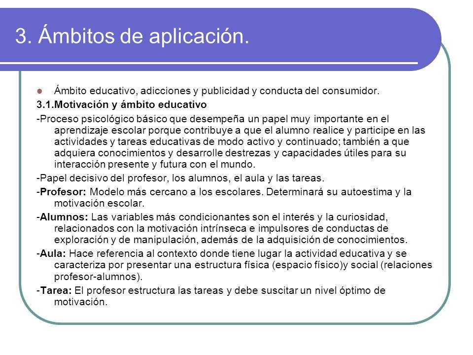 3. Ámbitos de aplicación. Ámbito educativo, adicciones y publicidad y conducta del consumidor. 3.1.Motivación y ámbito educativo -Proceso psicológico