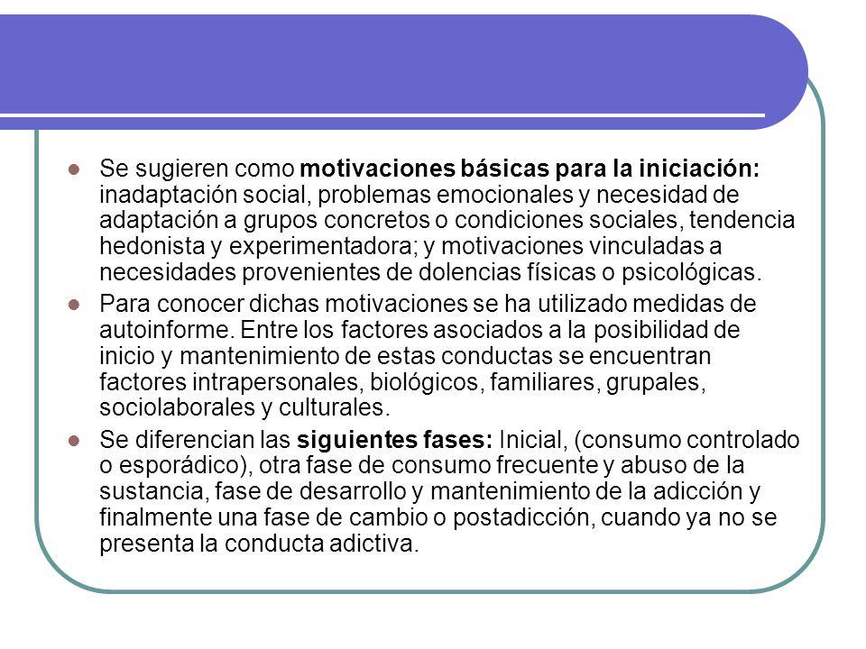 Se sugieren como motivaciones básicas para la iniciación: inadaptación social, problemas emocionales y necesidad de adaptación a grupos concretos o co
