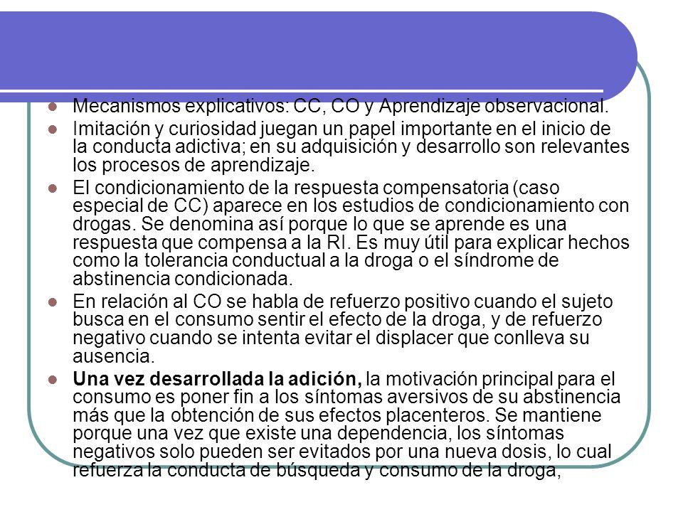 Mecanismos explicativos: CC, CO y Aprendizaje observacional.