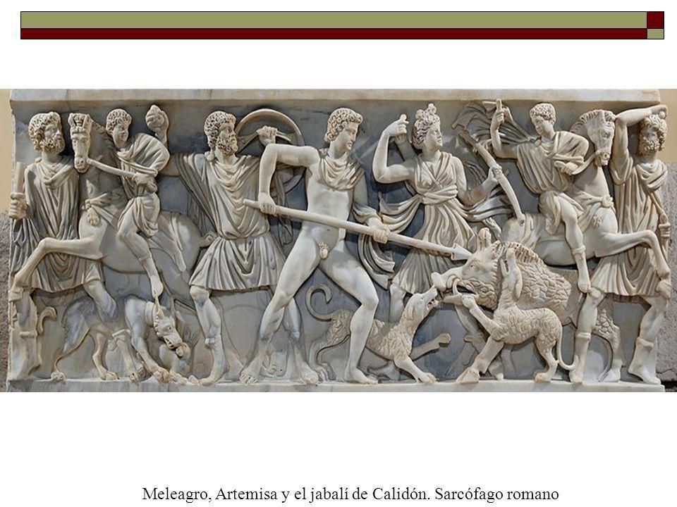 Meleagro, Artemisa y el jabalí de Calidón. Sarcófago romano