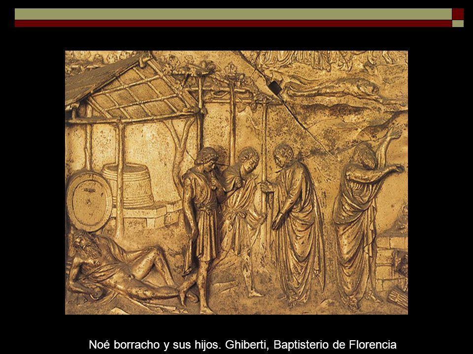Noé borracho y sus hijos. Ghiberti, Baptisterio de Florencia