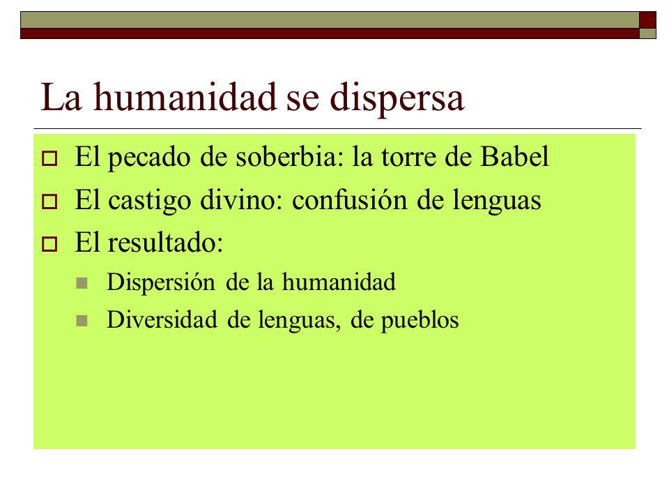 La humanidad se dispersa El pecado de soberbia: la torre de Babel El castigo divino: confusión de lenguas El resultado: Dispersión de la humanidad Div