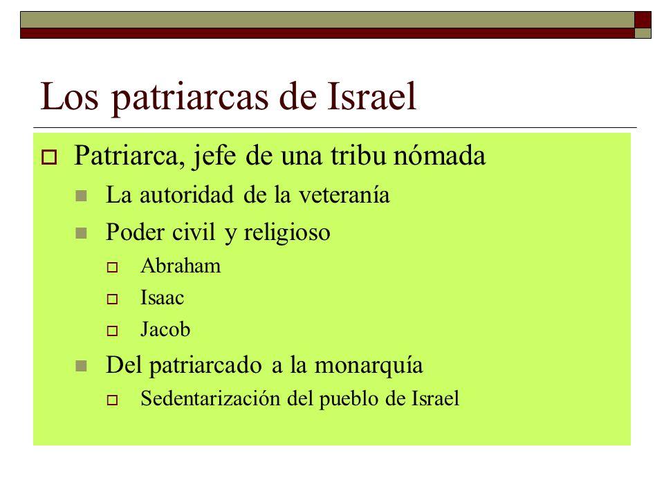 Los patriarcas de Israel Patriarca, jefe de una tribu nómada La autoridad de la veteranía Poder civil y religioso Abraham Isaac Jacob Del patriarcado