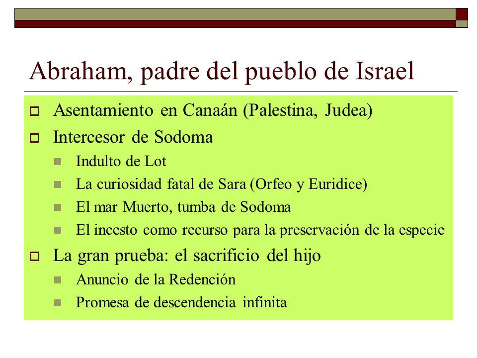 Abraham, padre del pueblo de Israel Asentamiento en Canaán (Palestina, Judea) Intercesor de Sodoma Indulto de Lot La curiosidad fatal de Sara (Orfeo y