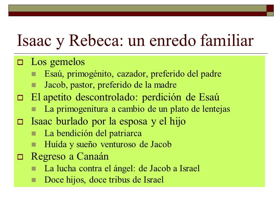 Isaac y Rebeca: un enredo familiar Los gemelos Esaú, primogénito, cazador, preferido del padre Jacob, pastor, preferido de la madre El apetito descont