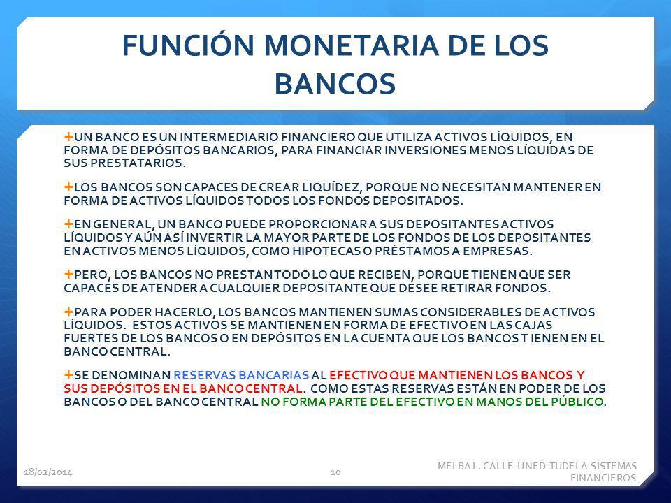 FUNCIÓN MONETARIA DE LOS BANCOS UN BANCO ES UN INTERMEDIARIO FINANCIERO QUE UTILIZA ACTIVOS LÍQUIDOS, EN FORMA DE DEPÓSITOS BANCARIOS, PARA FINANCIAR