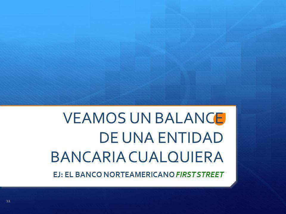 VEAMOS UN BALANCE DE UNA ENTIDAD BANCARIA CUALQUIERA EJ: EL BANCO NORTEAMERICANO FIRST STREET 11