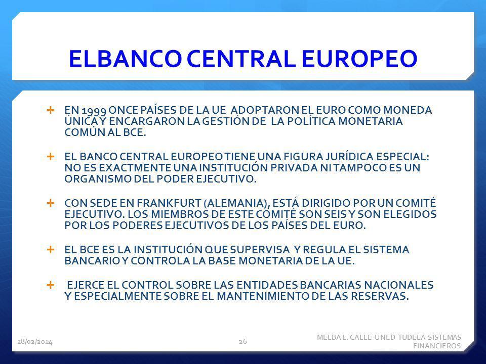 ELBANCO CENTRAL EUROPEO EN 1999 ONCE PAÍSES DE LA UE ADOPTARON EL EURO COMO MONEDA ÚNICA Y ENCARGARON LA GESTIÓN DE LA POLÍTICA MONETARIA COMÚN AL BCE