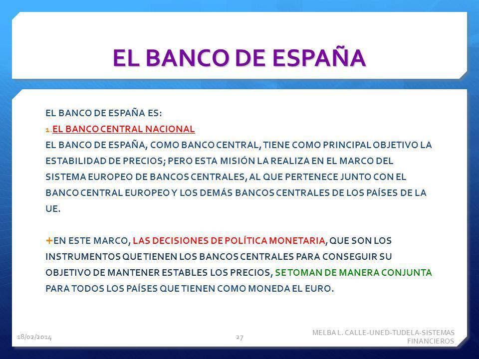 EL BANCO DE ESPAÑA EL BANCO DE ESPAÑA ES: 1. EL BANCO CENTRAL NACIONAL EL BANCO DE ESPAÑA, COMO BANCO CENTRAL, TIENE COMO PRINCIPAL OBJETIVO LA ESTABI