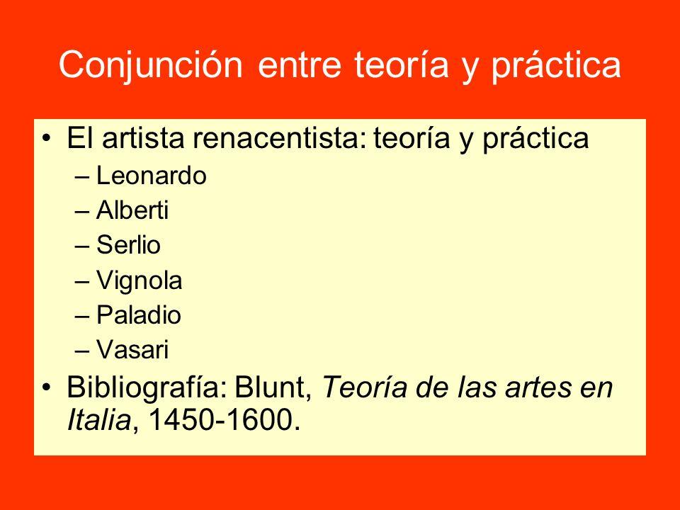 Conjunción entre teoría y práctica El artista renacentista: teoría y práctica –Leonardo –Alberti –Serlio –Vignola –Paladio –Vasari Bibliografía: Blunt