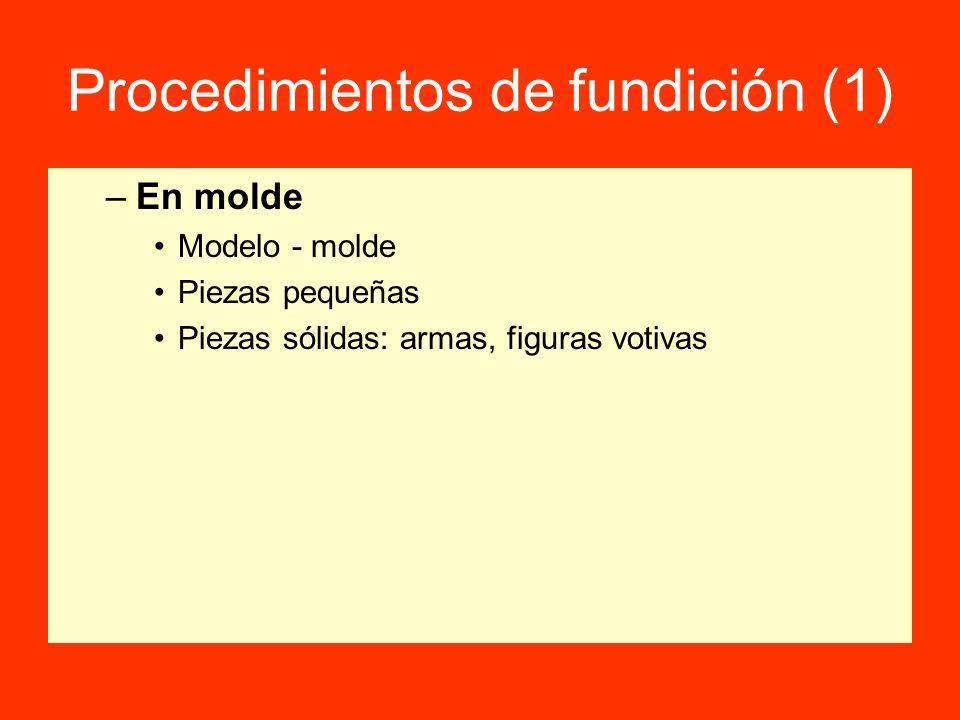 Procedimientos de fundición (1) –En molde Modelo - molde Piezas pequeñas Piezas sólidas: armas, figuras votivas