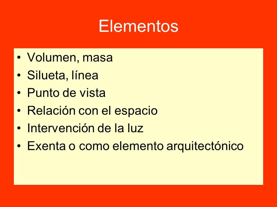 Elementos Volumen, masa Silueta, línea Punto de vista Relación con el espacio Intervención de la luz Exenta o como elemento arquitectónico