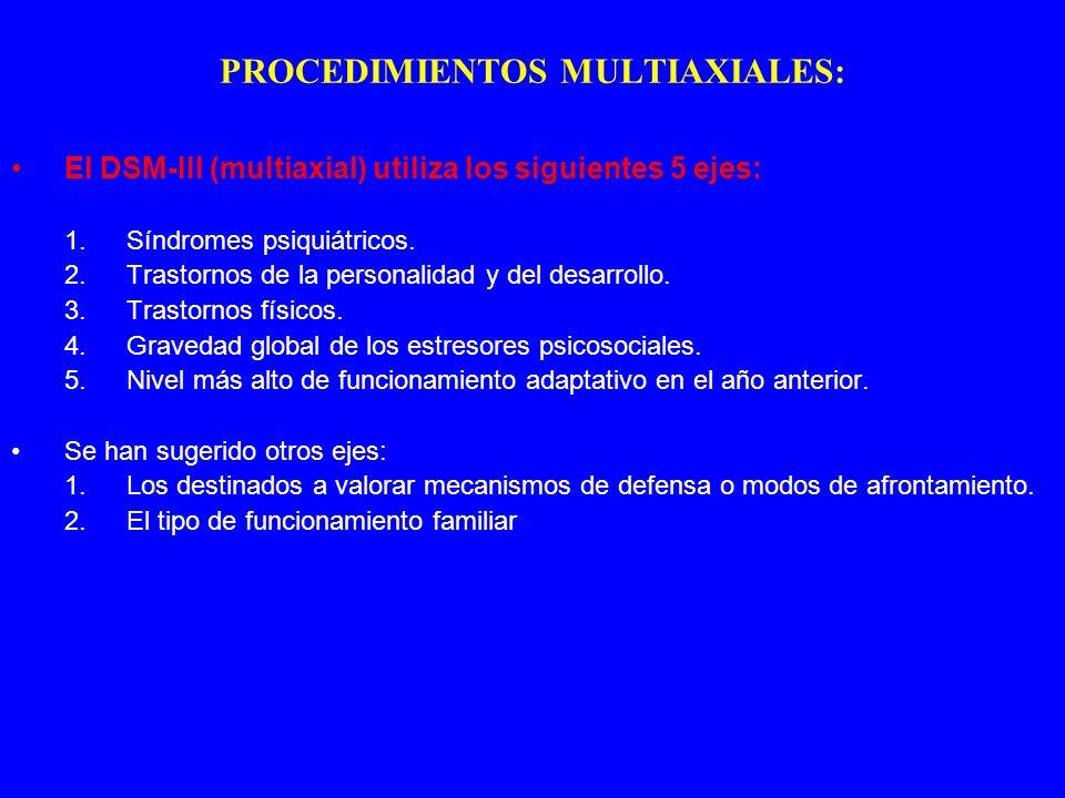 PROCEDIMIENTOS MULTIAXIALES: El DSM-III (multiaxial) utiliza los siguientes 5 ejes: 1.Síndromes psiquiátricos. 2.Trastornos de la personalidad y del d