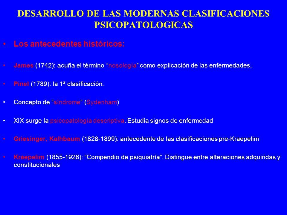 DESARROLLO DE LAS MODERNAS CLASIFICACIONES PSICOPATOLOGICAS Los antecedentes históricos: James (1742): acuña el término nosología como explicación de