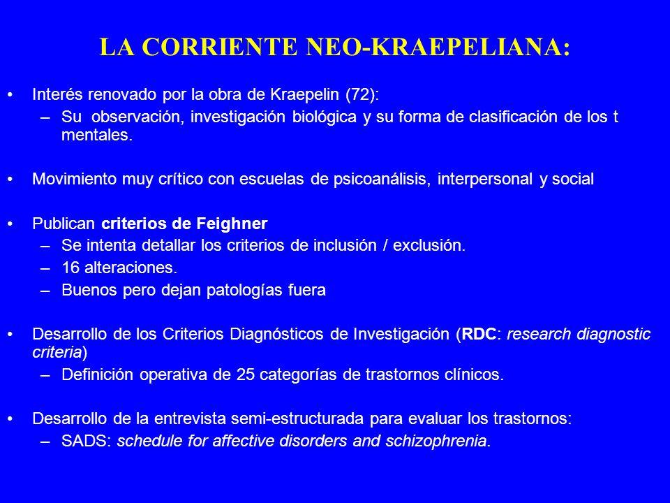Interés renovado por la obra de Kraepelin (72): –Su observación, investigación biológica y su forma de clasificación de los t mentales. Movimiento muy