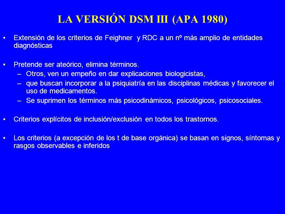 Extensión de los criterios de Feighner y RDC a un nº más amplio de entidades diagnósticas Pretende ser ateórico, elimina términos. –Otros, ven un empe