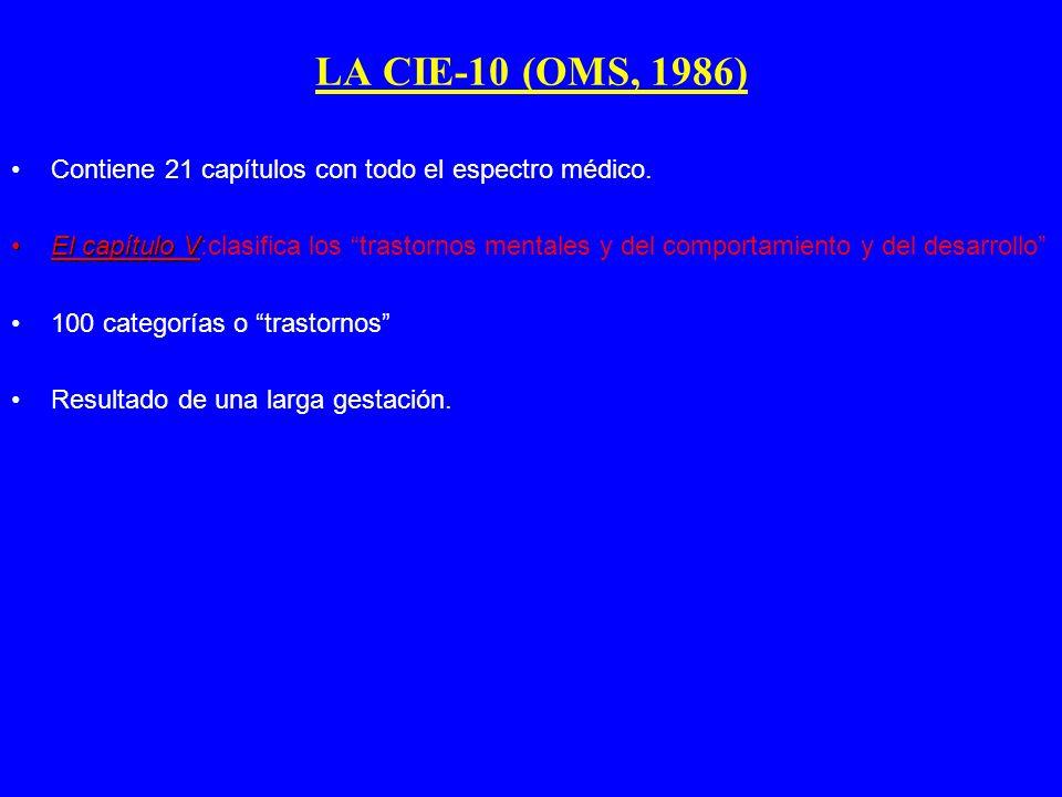 LA CIE-10 (OMS, 1986) Contiene 21 capítulos con todo el espectro médico. El capítulo VEl capítulo V:clasifica los trastornos mentales y del comportami