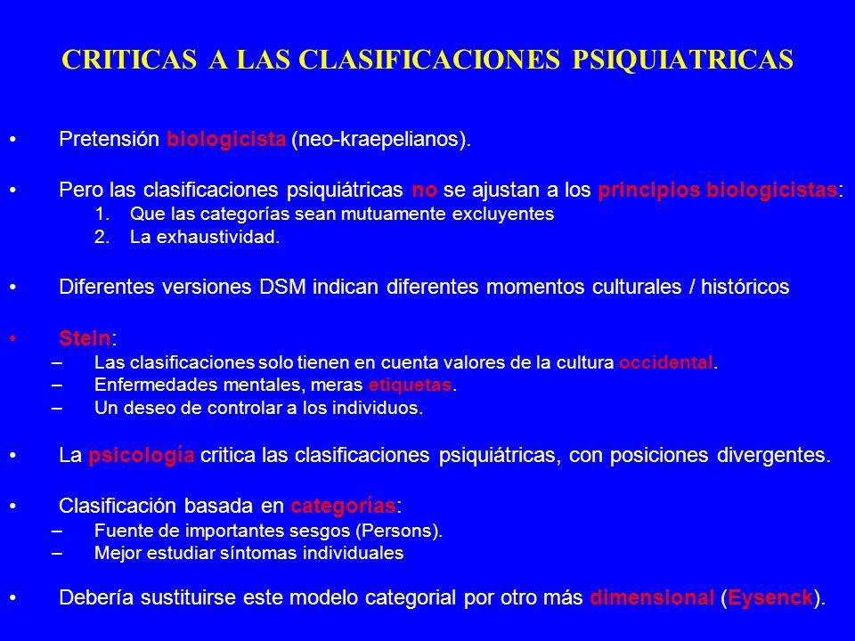 CRITICAS A LAS CLASIFICACIONES PSIQUIATRICAS Pretensión biologicista (neo-kraepelianos). Pero las clasificaciones psiquiátricas no se ajustan a los pr