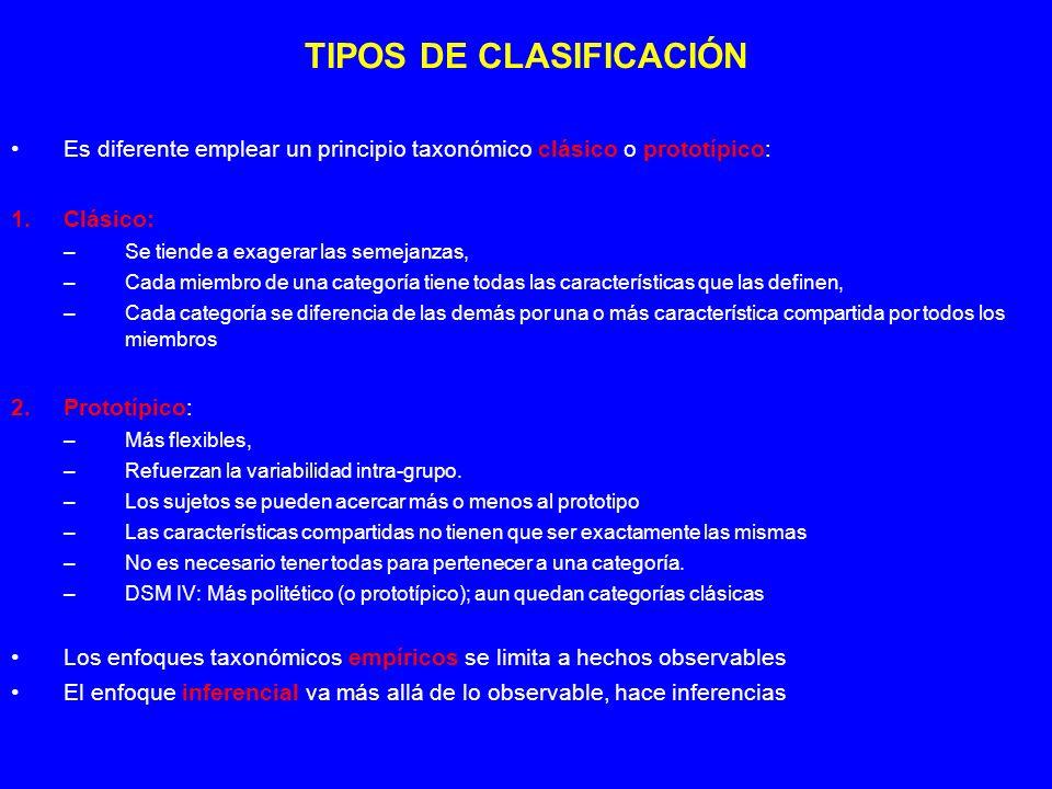 TIPOS DE CLASIFICACIÓN Es diferente emplear un principio taxonómico clásico o prototípico: 1.Clásico: –Se tiende a exagerar las semejanzas, –Cada miem