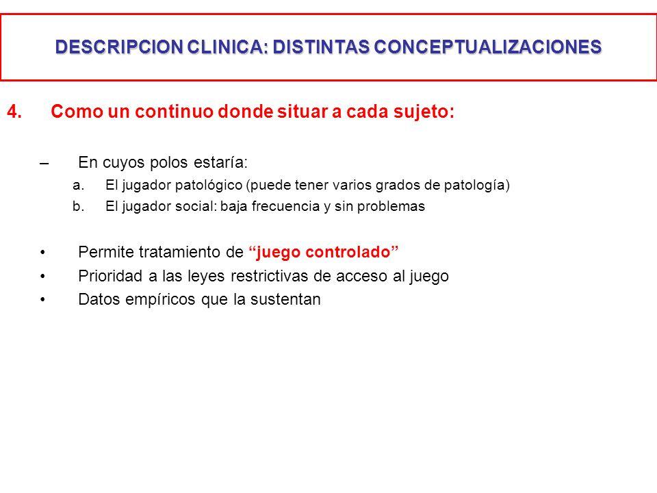 DESCRIPCION CLINICA: DISTINTAS CONCEPTUALIZACIONES 4.Como un continuo donde situar a cada sujeto: –En cuyos polos estaría: a.El jugador patológico (pu
