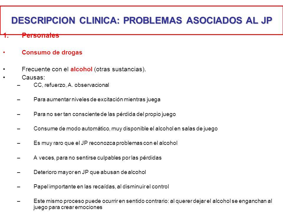 DESCRIPCION CLINICA: PROBLEMAS ASOCIADOS AL JP 1.Personales Consumo de drogas Frecuente con el alcohol (otras sustancias). Causas: –CC, refuerzo, A. o