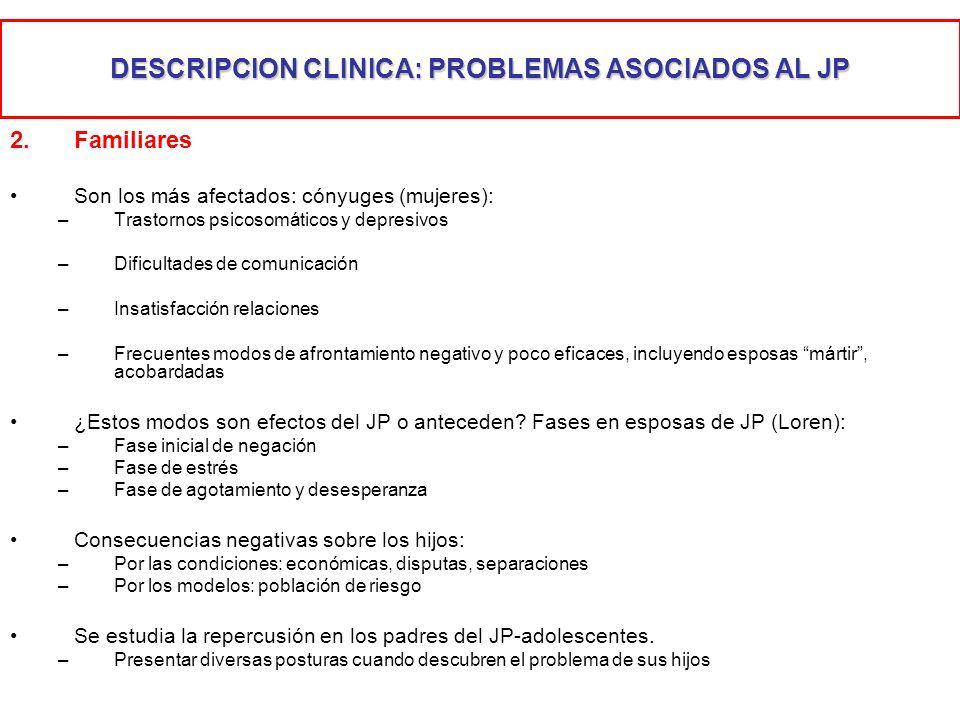 DESCRIPCION CLINICA: PROBLEMAS ASOCIADOS AL JP 2.Familiares Son los más afectados: cónyuges (mujeres): –Trastornos psicosomáticos y depresivos –Dificu