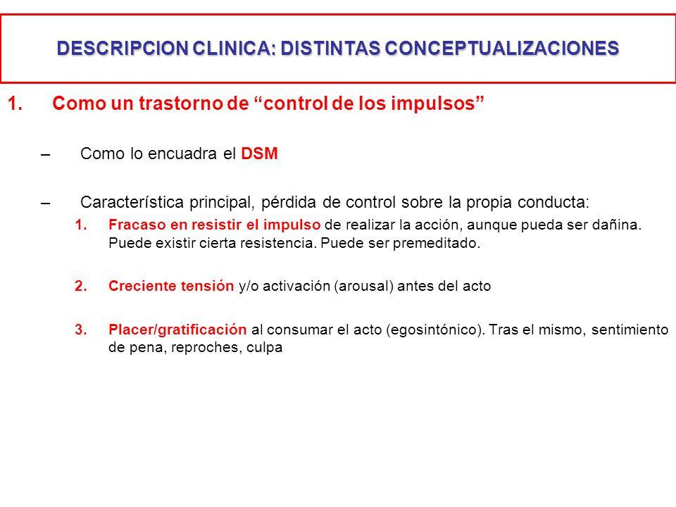 DESCRIPCION CLINICA: DISTINTAS CONCEPTUALIZACIONES 1.Como un trastorno de control de los impulsos –Como lo encuadra el DSM –Característica principal,
