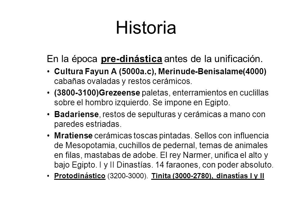 Historia En la época pre-dinástica antes de la unificación. Cultura Fayun A (5000a.c), Merinude-Benisalame(4000) cabañas ovaladas y restos cerámicos.