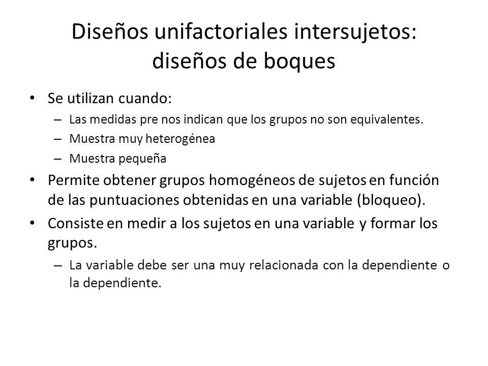 Se utilizan cuando: – Las medidas pre nos indican que los grupos no son equivalentes. – Muestra muy heterogénea – Muestra pequeña Permite obtener grup