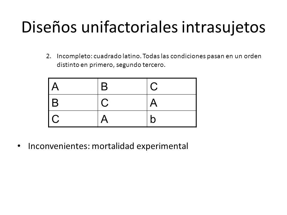 2.Incompleto: cuadrado latino. Todas las condiciones pasan en un orden distinto en primero, segundo tercero. Inconvenientes: mortalidad experimental A