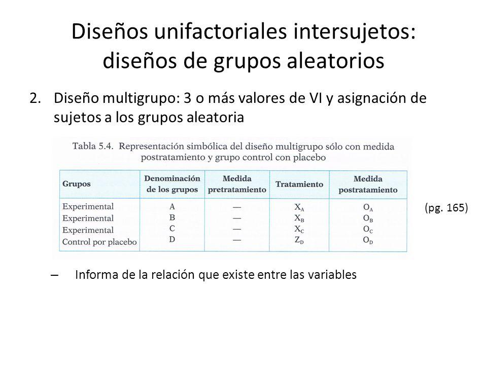 2.Diseño multigrupo: 3 o más valores de VI y asignación de sujetos a los grupos aleatoria – Informa de la relación que existe entre las variables Dise
