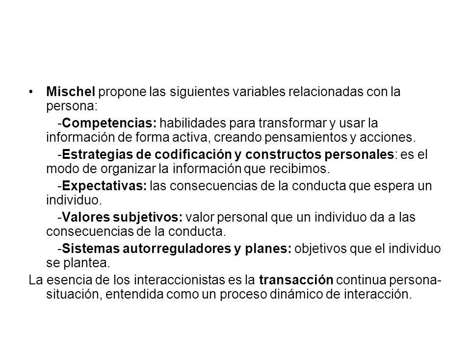 Mischel propone las siguientes variables relacionadas con la persona: -Competencias: habilidades para transformar y usar la información de forma activ