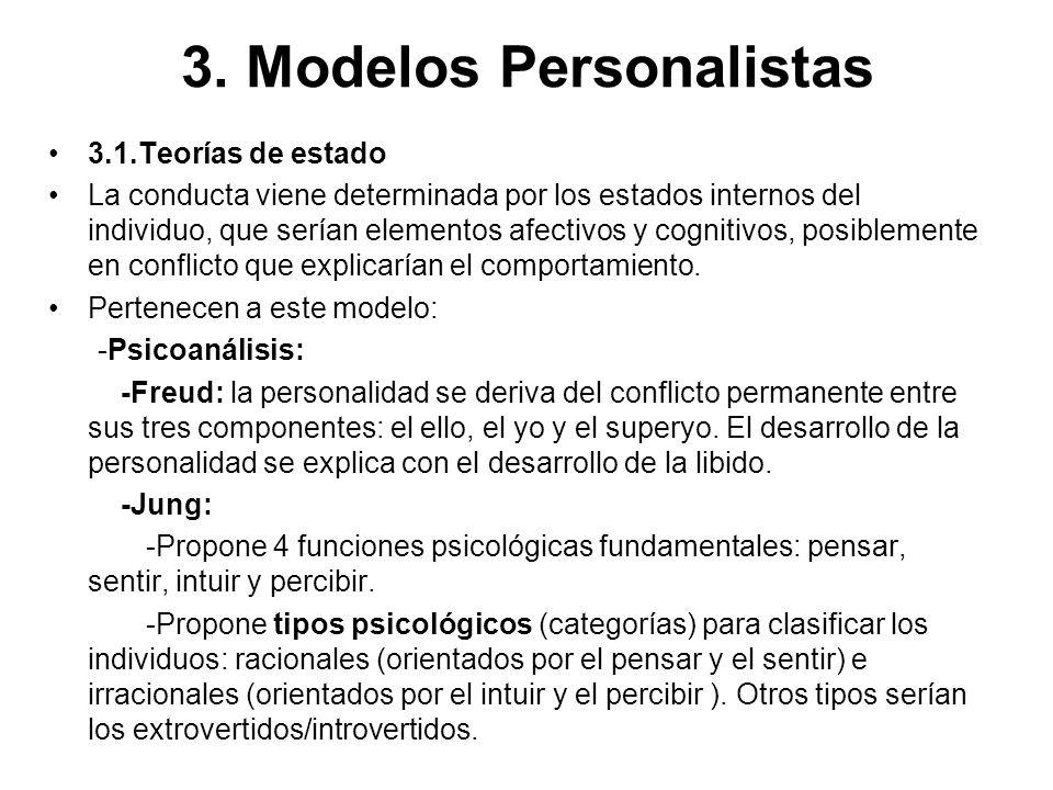 3. Modelos Personalistas 3.1.Teorías de estado La conducta viene determinada por los estados internos del individuo, que serían elementos afectivos y