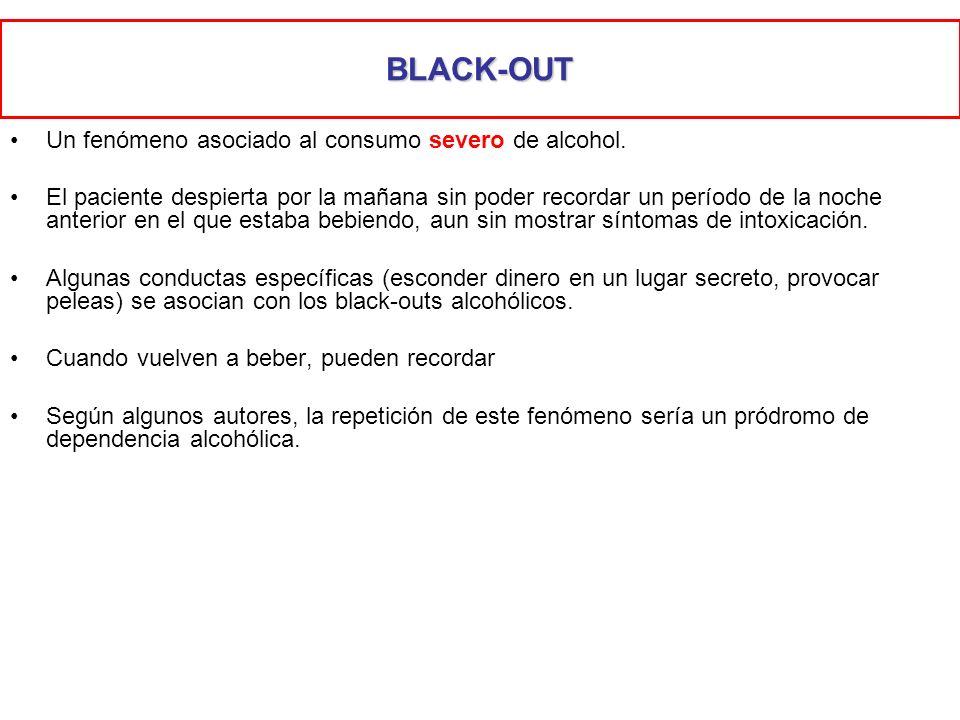BLACK-OUT Un fenómeno asociado al consumo severo de alcohol. El paciente despierta por la mañana sin poder recordar un período de la noche anterior en