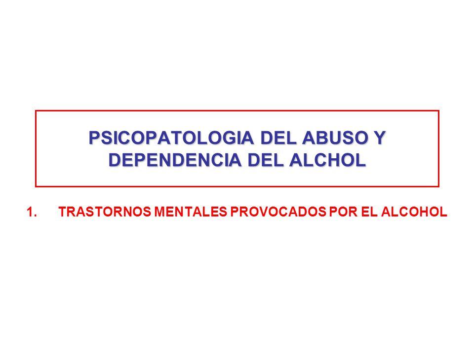 PSICOPATOLOGIA DEL ABUSO Y DEPENDENCIA DEL ALCHOL 1.TRASTORNOS MENTALES PROVOCADOS POR EL ALCOHOL