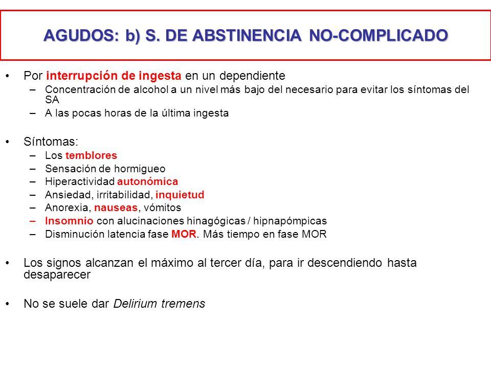 AGUDOS: b) S. DE ABSTINENCIA NO-COMPLICADO Por interrupción de ingesta en un dependiente –Concentración de alcohol a un nivel más bajo del necesario p