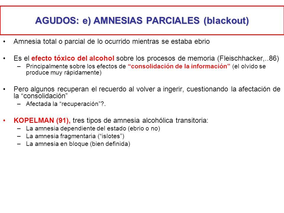 AGUDOS: e) AMNESIAS PARCIALES (blackout) Amnesia total o parcial de lo ocurrido mientras se estaba ebrio Es el efecto tóxico del alcohol sobre los pro