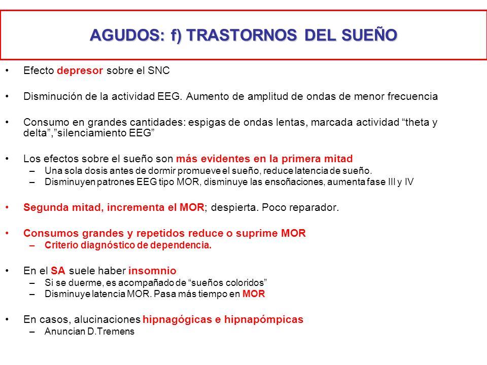 AGUDOS: f) TRASTORNOS DEL SUEÑO Efecto depresor sobre el SNC Disminución de la actividad EEG. Aumento de amplitud de ondas de menor frecuencia Consumo
