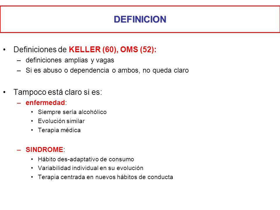 Definiciones de KELLER (60), OMS (52): –definiciones amplias y vagas –Si es abuso o dependencia o ambos, no queda claro Tampoco está claro si es: –enf