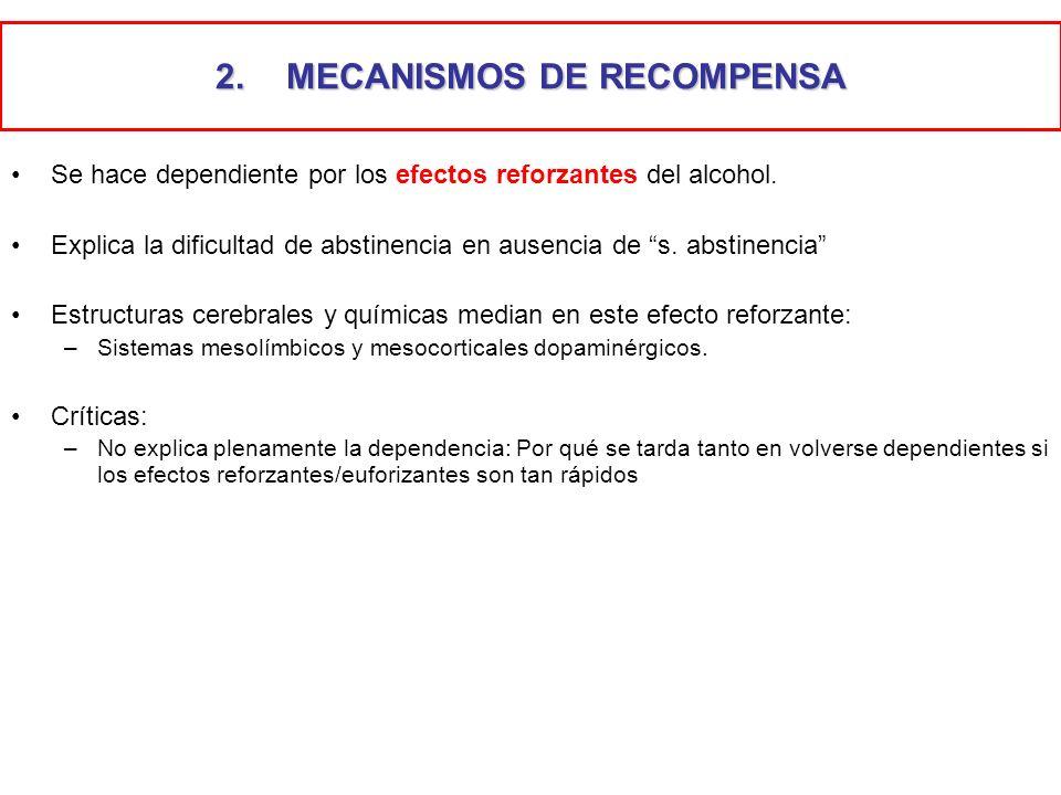 2.MECANISMOS DE RECOMPENSA Se hace dependiente por los efectos reforzantes del alcohol. Explica la dificultad de abstinencia en ausencia de s. abstine