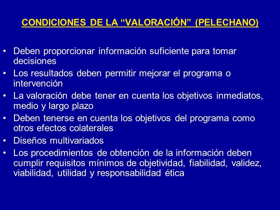 CONDICIONES DE LA VALORACIÓN (PELECHANO) Deben proporcionar información suficiente para tomar decisiones Los resultados deben permitir mejorar el prog