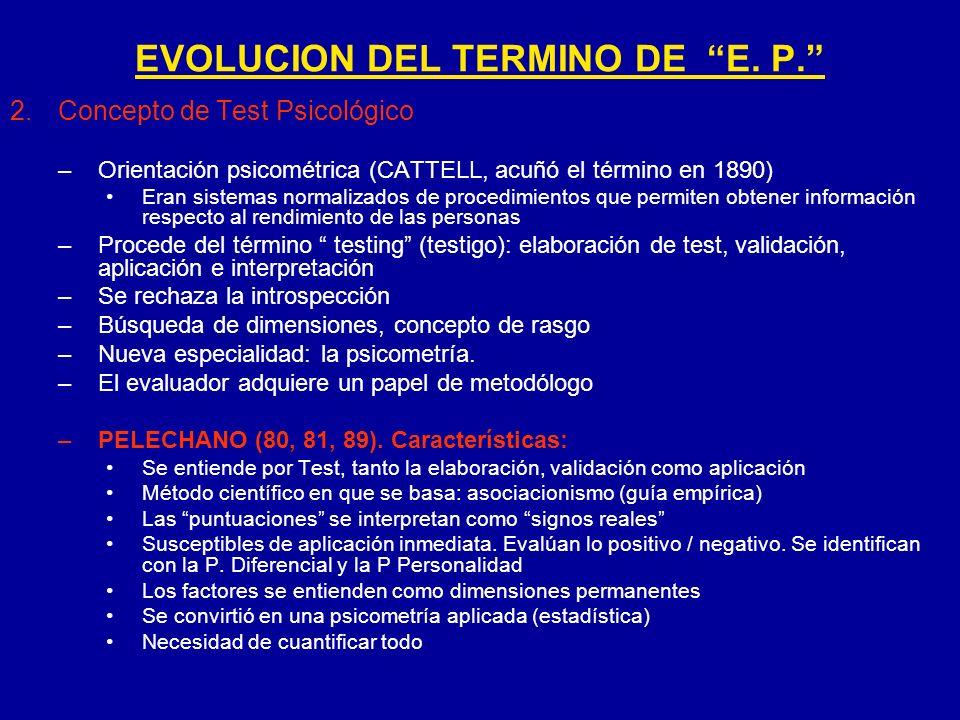 2.Concepto de Test Psicológico –Orientación psicométrica (CATTELL, acuñó el término en 1890) Eran sistemas normalizados de procedimientos que permiten