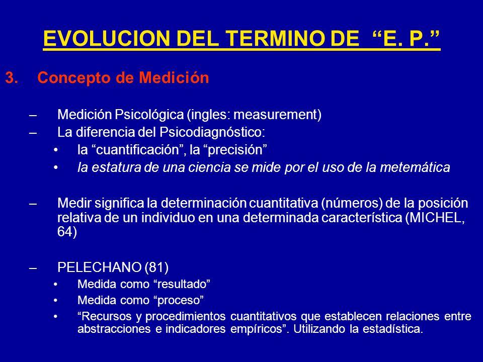 3.Concepto de Medición –Medición Psicológica (ingles: measurement) –La diferencia del Psicodiagnóstico: la cuantificación, la precisión la estatura de