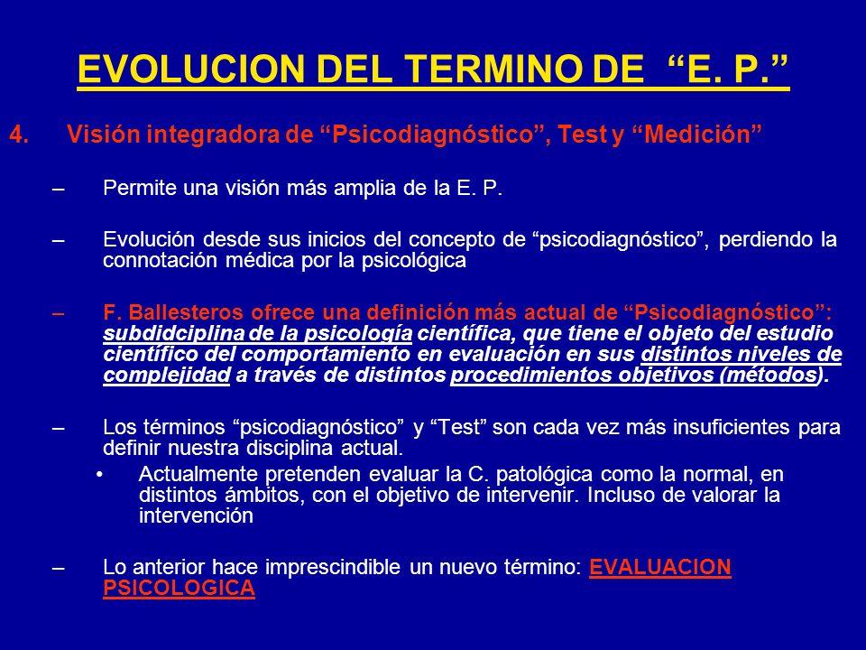 4.Visión integradora de Psicodiagnóstico, Test y Medición –Permite una visión más amplia de la E. P. –Evolución desde sus inicios del concepto de psic