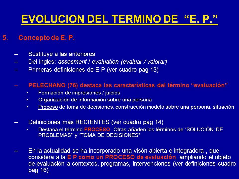 5.Concepto de E. P. –Sustituye a las anteriores –Del ingles: assesment / evaluation (evaluar / valorar) –Primeras definiciones de E P (ver cuadro pag