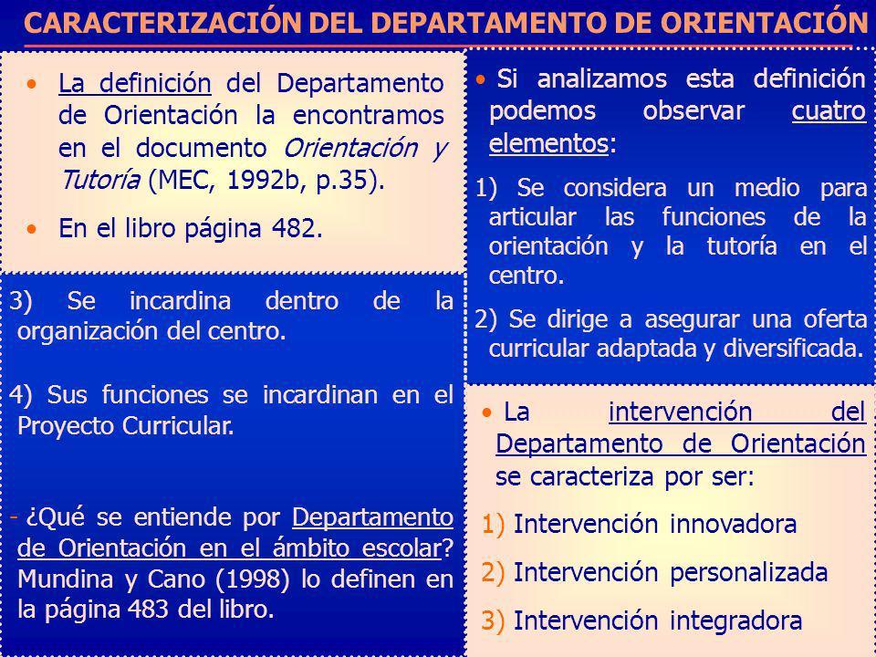 CARACTERIZACIÓN DEL DEPARTAMENTO DE ORIENTACIÓN La definición del Departamento de Orientación la encontramos en el documento Orientación y Tutoría (ME