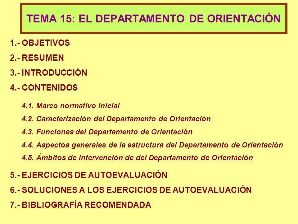 1.- OBJETIVOS 2.- RESUMEN 3.- INTRODUCCIÓN 4.- CONTENIDOS 4.1. Marco normativo inicial 4.2. Caracterización del Departamento de Orientación 4.3. Funci