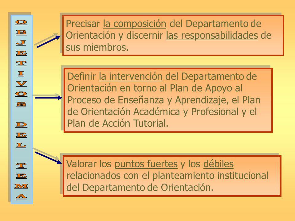 Precisar la composición del Departamento de Orientación y discernir las responsabilidades de sus miembros. Definir la intervención del Departamento de