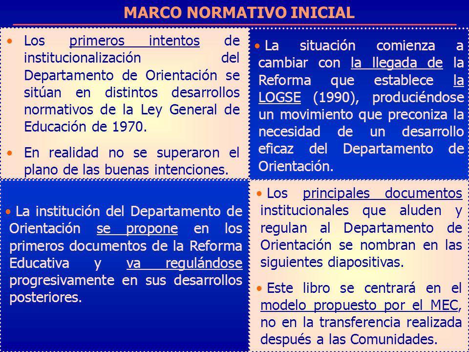 MARCO NORMATIVO INICIAL Los primeros intentos de institucionalización del Departamento de Orientación se sitúan en distintos desarrollos normativos de