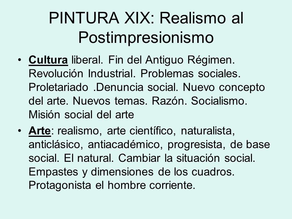 PINTURA XIX: Realismo al Postimpresionismo Cultura liberal. Fin del Antiguo Régimen. Revolución Industrial. Problemas sociales. Proletariado.Denuncia